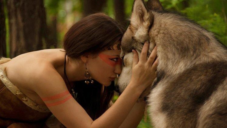 women, Brunette, Wolf, Animals HD Wallpaper Desktop Background