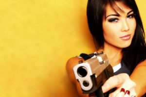women, Brunette, Pistol