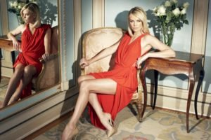 women, Legs, Red dress, Charlize Theron