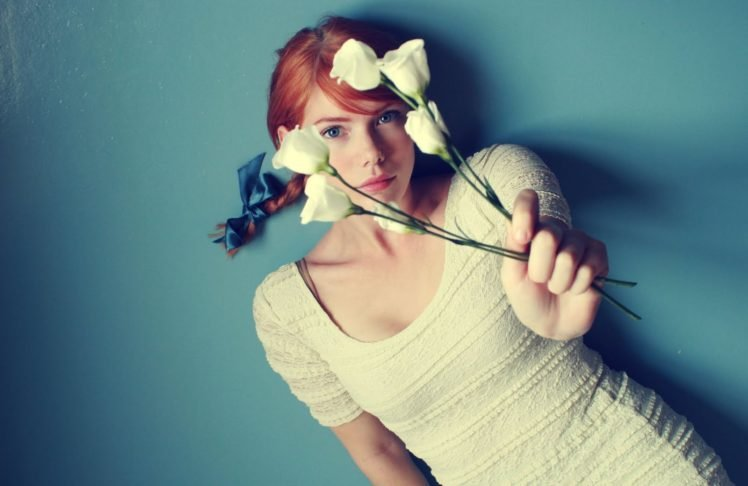 women, Redhead, Flowers, Braids, Dress, White dress, Blue eyes HD Wallpaper Desktop Background