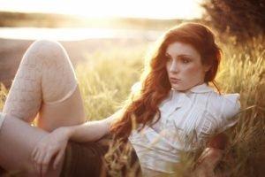 women, Model, Long hair, Redhead, Field