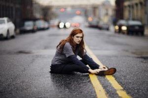 women, Model, Long hair, Road, Readhead