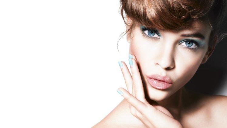 model, Women, Blue eyes, Simple background, Barbara Palvin, Closeup HD Wallpaper Desktop Background