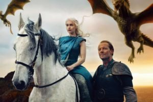 Game of Thrones, Daenerys Targaryen, Jorah Mormont, Dragon, Emilia Clarke, Horse