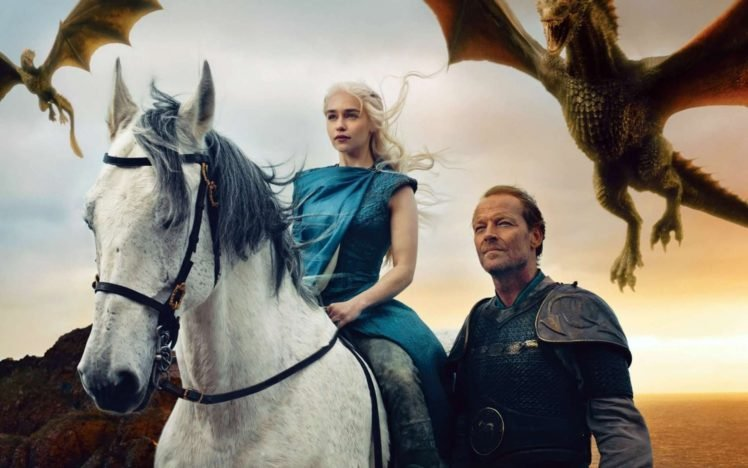 Game of Thrones, Daenerys Targaryen, Jorah Mormont, Dragon, Emilia Clarke, Horse HD Wallpaper Desktop Background