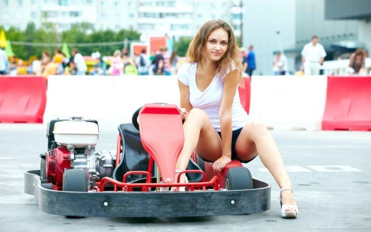 Zlatka A, Women, Brunette, Model, Kart, Blue eyes, Shorts, Legs, High heels, T shirt HD Wallpaper Desktop Background
