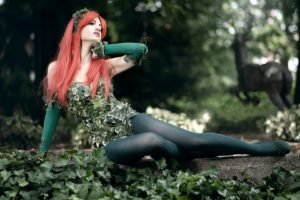women, Model, Redhead, Long hair, Women outdoors, Nature, Trees, Leaves, Sitting, Cosplay, Stockings, Poison Ivy