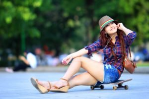 women, Jean shorts, Shorts, Skateboard, Shirt, Sitting, Looking at viewer, Earphones, Asian