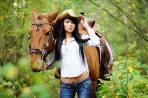 women, Brunette, Horse, Animals, Women outdoors, Nature, Jeans, Shirt, Long hair