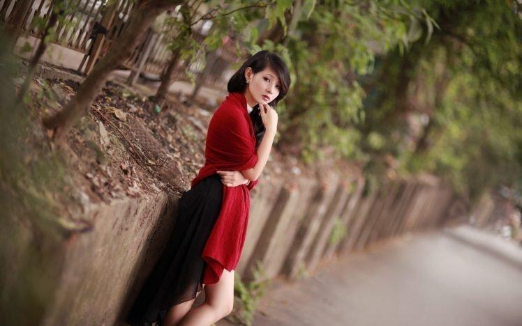 women, Dress, Brunette, Asian, Red dress, Tilt shift, Women outdoors HD Wallpaper Desktop Background