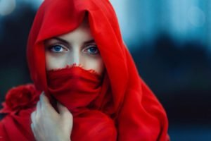 women, Face, Blue eyes, Red, Eyes, Scarf, Veils, Model