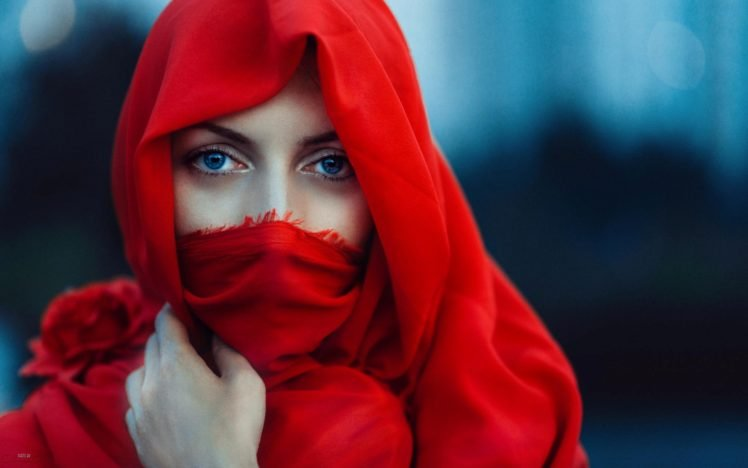 Women Face Blue Eyes Red Scarf Veils Model