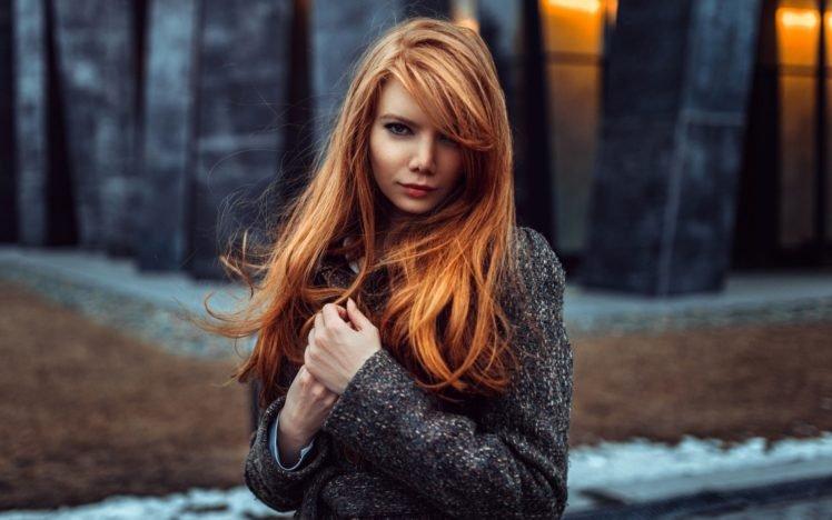 women, Redhead, Looking at viewer, Women outdoors, Depth of field, Georgiy Chernyadyev, Long hair, Coats, Kohl eyes, Antonina Bragina HD Wallpaper Desktop Background