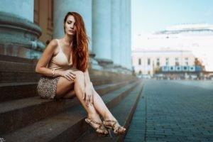 women, Redhead, Long hair, Legs, Skirt, High heels, Stairs, Sitting, Women outdoors, Miniskirt, Georgiy Chernyadyev