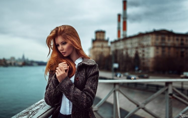 long hair, Looking away, Shirt, Blurred, Coats, Women, Women outdoors, Redhead, Georgiy Chernyadyev, Antonina Bragina HD Wallpaper Desktop Background