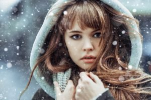 women, Face, Snow, Long hair, Auburn hair, Anastasia Scheglova, Bangs