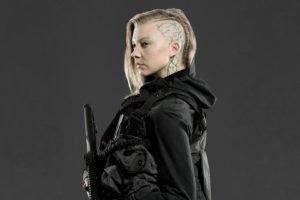 Natalie Dormer, Actress, Blonde, Shaved heads, Hunger Games, Gray background, Cressida