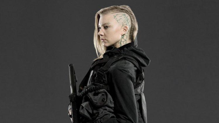 Natalie Dormer, Actress, Blonde, Shaved heads, Hunger Games, Gray background, Cressida HD Wallpaper Desktop Background