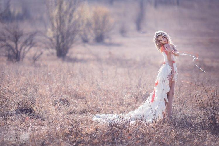 women, Model, Blonde, Curly hair, White dress, Legs, Makeup, Women outdoors HD Wallpaper Desktop Background