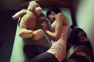 teddy bears, Women, In bed