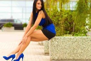 women, Brunette, High heels