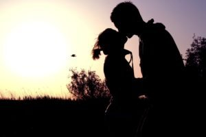 kissing, Couple, Silhouette