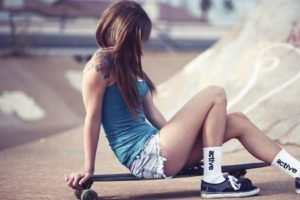 skateboarding, Booty shorts, Women, Women outdoors, Brunette, Tattoo, Short shorts, Jean shorts, Teravena Sugimoto