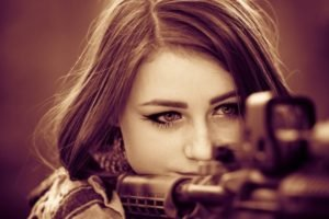 brunette, Women, Face, Model, Gun, Army girl, Closeup