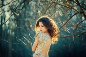 women, Brunette, Back, Blonde, Model, Ksenia Malinina