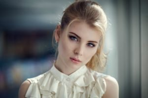 Irina Popova, Model, Blonde, Bokeh, Portrait, Face