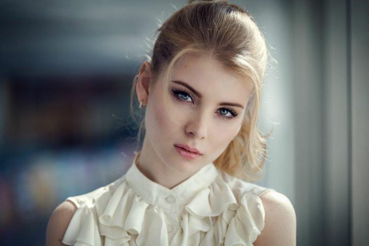 Irina Popova, Model, Blonde, Bokeh, Portrait, Face HD Wallpaper Desktop Background