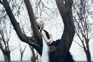 white hair, Trees, Women outdoors, Model, Women