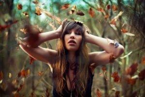women, Auburn hair, Long hair, Leaves, Women outdoors, Hands on head