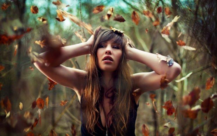 women, Auburn hair, Long hair, Leaves, Women outdoors, Hands on head HD Wallpaper Desktop Background