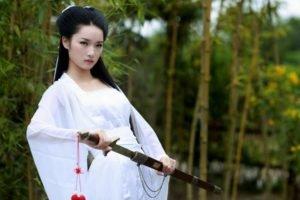 women, Model, Brunette, Long hair, Women outdoors, Nature, Trees, Asian, Bamboo, White dress