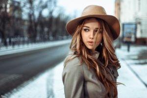 women, Auburn hair, Long hair, Winter, Snow, Blue eyes, Looking away, Georgiy Chernyadyev