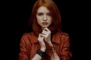 women, Redhead, Face, Blue eyes, Jacket, Leather jackets
