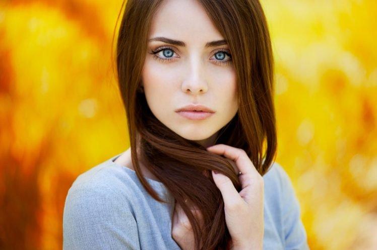 women, Auburn hair, Blue eyes, Face, Blurred, Long hair, Looking at viewer, Brunette, Ann Nevreva HD Wallpaper Desktop Background