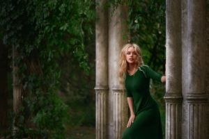 women, Dress, Blonde, Green dress, Women outdoors