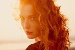 women, Redhead, Face, Sunlight, Ann Nevreva