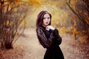 women, Blue eyes, Dress, Black dress, Fall, Long hair, Red lipstick, Women outdoors, Blurred