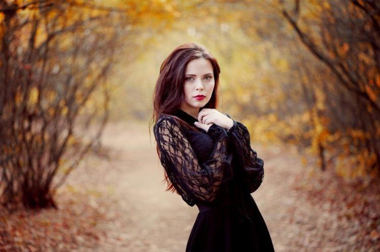 women, Blue eyes, Dress, Black dress, Fall, Long hair, Red lipstick, Women outdoors, Blurred HD Wallpaper Desktop Background