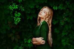 women, Blonde, Leaves, Closed eyes, Dress, Green dress, Ann Nevreva