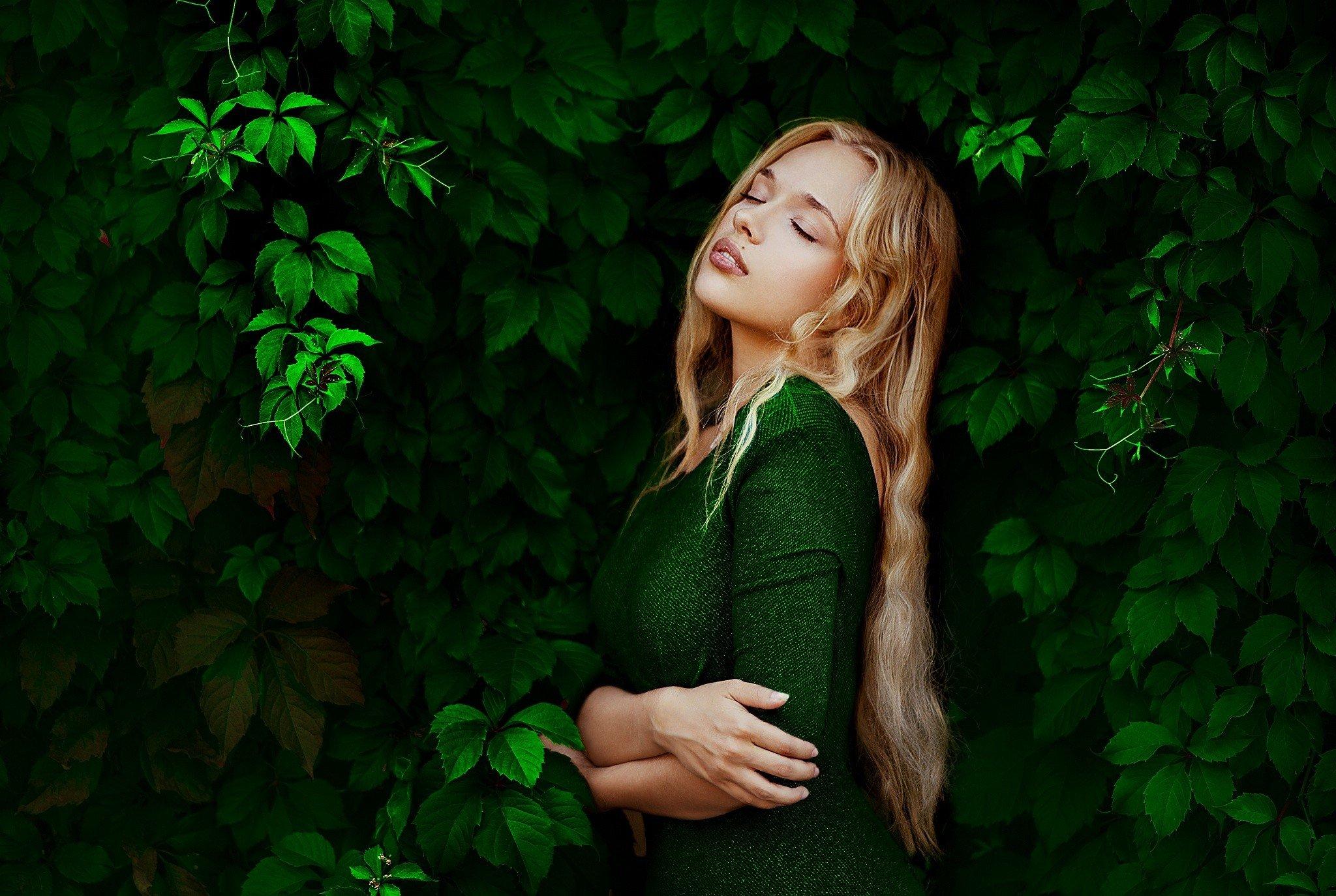 women, Blonde, Leaves, Closed eyes, Dress, Green dress, Ann Nevreva Wallpaper