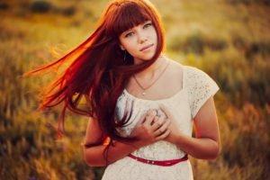 women, Dress, White dress, Long hair, Redhead, Bangs, Women outdoors