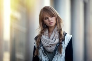 Anastasia Scheglova, Blonde, Scarf, Pigtails, Women, Model, Auburn hair