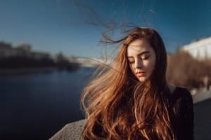 brunette, Blue eyes, Women, Model, Long hair, Closed eyes, Ekaterina Kuznetsova, Women outdoors, Windy, Urban, Building, River, Russian, Redhead
