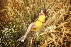 field, Model, Women, Yellow dress