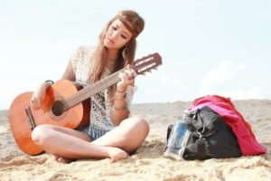 guitar, Women, Model, Beach
