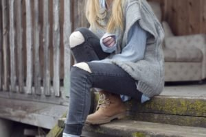 women, Blonde, Jeans, Villages, Stairs, Long hair